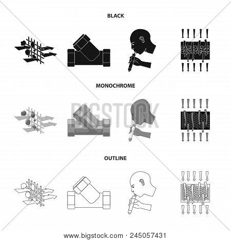 System, Balloon, Hand, Trial .water Filtration System Set Collection Icons In Black, Monochrome, Out