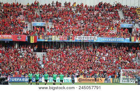 Nice, France - June 22, 2016: Tribunes Of Allianz Riviera Stade De Nice With Belgian Fans During The