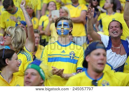 Nice, France - June 22, 2016: Swedish Fans Show Their Support During The Uefa Euro 2016 Game Sweden