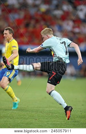 Nice, France - June 22, 2016: Kevin De Bruyne Of Belgium In Action During The Uefa Euro 2016 Game Ag