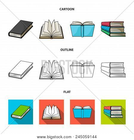 Various Kinds Of Books. Books Set Collection Icons In Cartoon, Outline, Flat Style Vector Symbol Sto