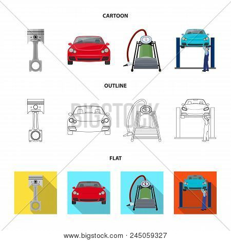 Car On Lift, Piston And Pump Cartoon, Outline, Flat Icons In Set Collection For Design.car Maintenan