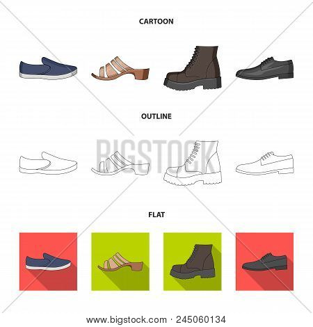 A Set Of Icons On A Variety Of Shoes.different Shoes Single Icon In Cartoon, Outline, Flat Style Vec