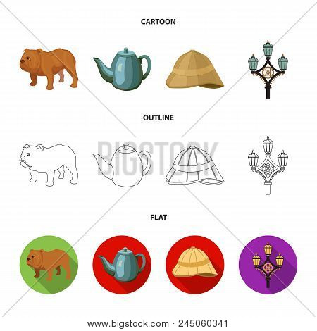 Breed Dog, Teapot, Brewer .england Country Set Collection Icons In Cartoon, Outline, Flat Style Vect