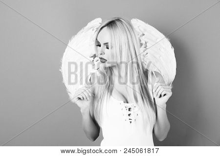 Young Angel. Angel Girl Portrait, Pretty Blonde Woman With Wings, Angel With Long Hair And Bright Ma