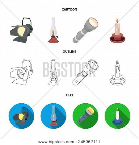 Searchlight, Kerosene Lamp, Candle, Flashlight.light Source Set Collection Icons In Cartoon, Outline