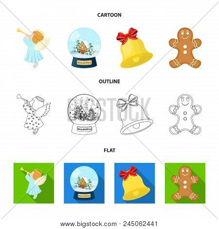 Angel, Glass Bowl, Gingerbread And Bell Cartoon, Outline, Flat Icons In Set Collection For Design. C