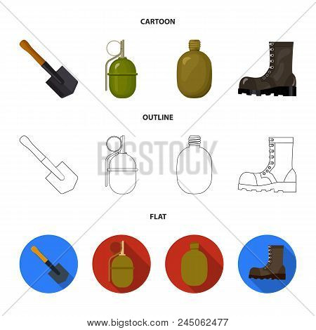 Sapper Blade, Hand Grenade, Army Flask, Soldier's Boot. Military And Army Set Collection Icons In Ca