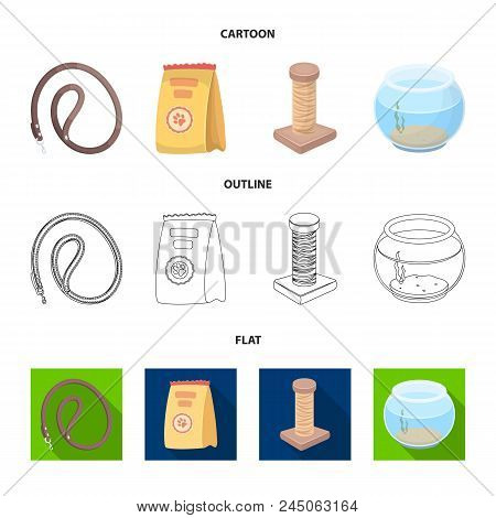 Leash, Feed And Other Zoo Store Products.pet Shop Set Collection Icons In Cartoon, Outline, Flat Sty