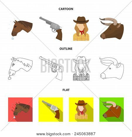 Head Of A Horse, A Bull's Head, A Revolver, A Cowboy Girl. Rodeo Set Collection Icons In Cartoon,out