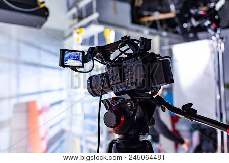 Behind The Scenes Of Video Production Or Video Shooting At Studio Location With Film Crew Camera Tea