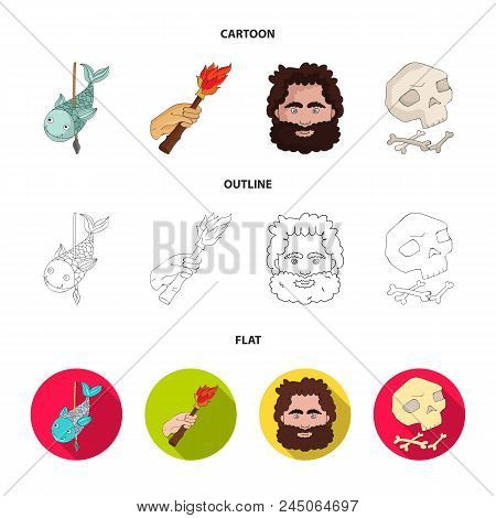 Primitive, Fish, Spear, Torch .stone Age Set Collection Icons In Cartoon, Outline, Flat Style Vector