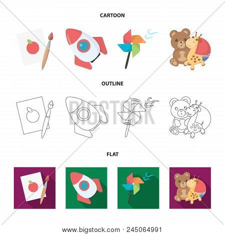 Children's Toy Cartoon,outline,flat Icons In Set Collection For Design. Game And Bauble Vector Symbo