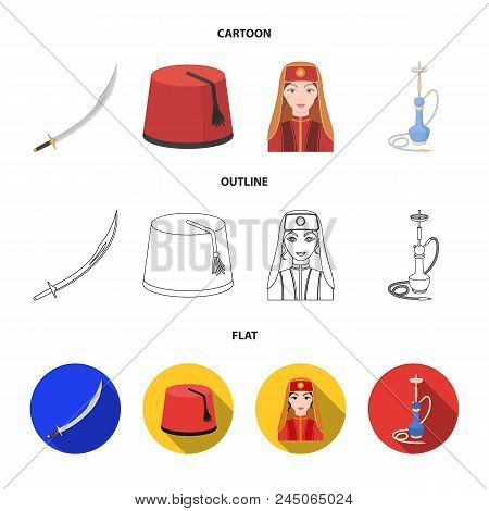 Turkish Fez, Yatogan, Turkish, Hookah.turkey Set Collection Icons In Cartoon, Outline, Flat Style Ve