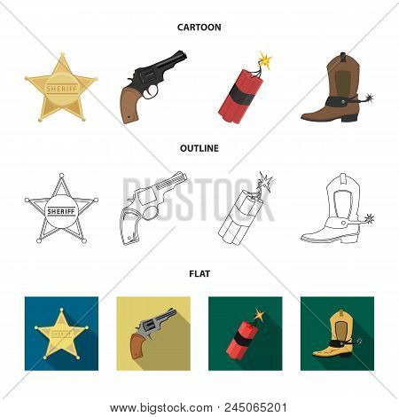 Star Sheriff, Colt, Dynamite, Cowboy Boot. Wild West Set Collection Icons In Cartoon, Outline, Flat