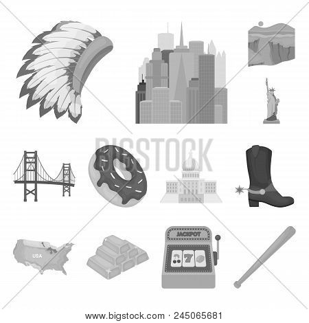 Usa Country Monochrome Icons In Set Collection For Design.travel And Attractions Vector Symbol Stock