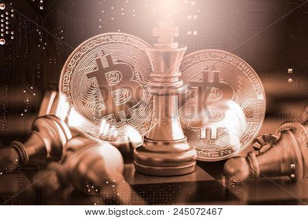 Modern Way Of Exchange. Bitcoin Is Convenient Payment In Economy Market. Virtual Digital Currency An