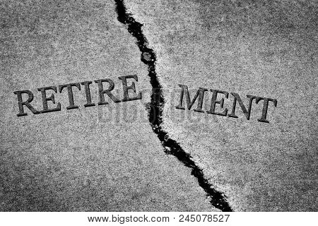 Old cracked sidewalk broken and dangerous cement symbol of no retirement