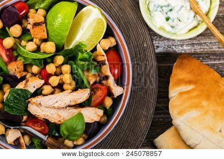 Mediterranean Grilled Chicken Salad With Chickpea Or Garbanzo Beans. Selective Focus.