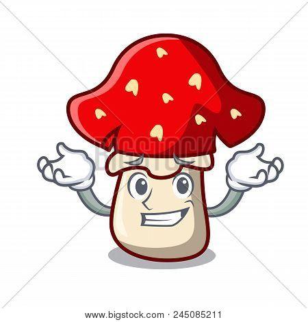 Grinning Amanita Mushroom Character Cartoon Vector Illustration