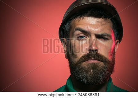 Construction Worker In Hard Hat. Portrait Of Mechanical Worker. Close Up Engineers Working. Portrait