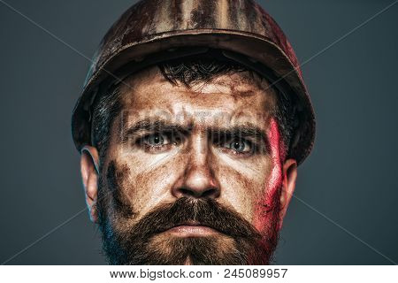 Builder In Protective Helmet. Male Builder. Close Up Man In Construction Helmet. Architect, Worker,