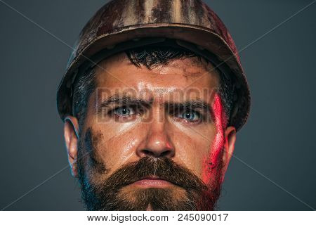 Industrial Worker. Hard Work. Portrait Bearded Man With Protect Helmet Wearing. Man Builder. Busines