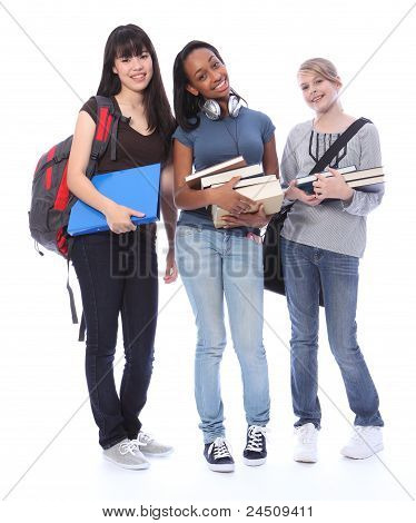Happy Teenage Ethnic Student Girls In Education