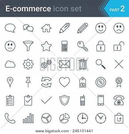 E-commerce Simple Thin Icon Set Isolated On White Background