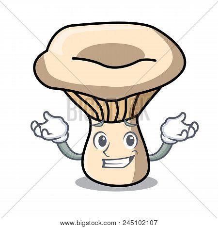 Grinning Milk Mushroom Character Cartoon Vector Illustration
