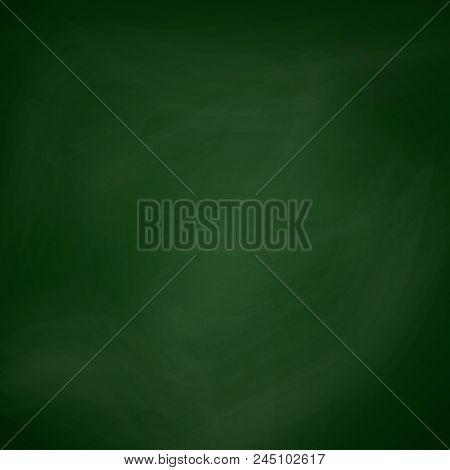 Empty Blackboard Dark Green Color. Chalkboard Template. School Blackboard Realistic Texture For Bann
