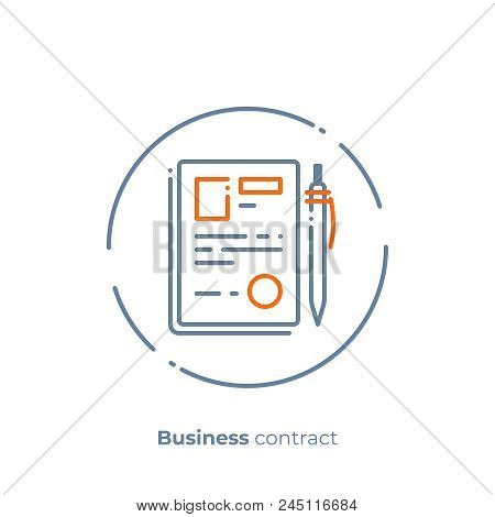 Finance Contract Line Vector Photo Free Trial Bigstock