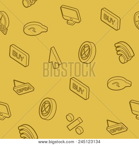 E-commerce Outline Isometric Pattern. Vector Illustration, Eps 10