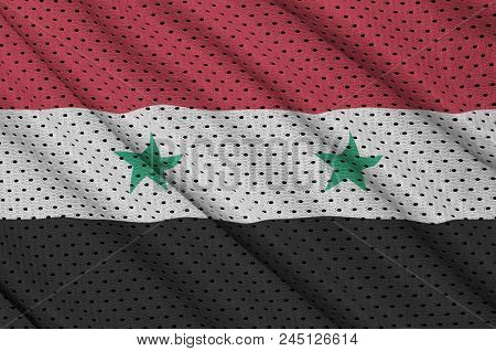 Syria Flag Printed On A Polyester Nylon Sportswear Mesh Fabric With Some Folds