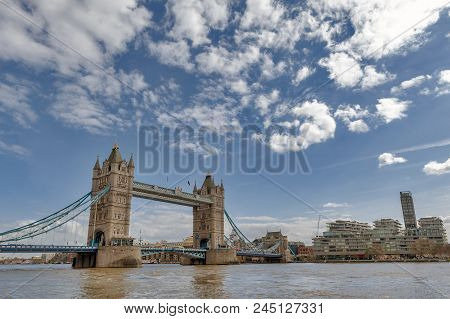 London, Uk - April 2018: Tower Bridge, A Combined Bascule And Suspension Bridge With Twin Towers Cro