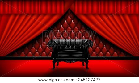 Vintage Leather Chair On A Background Of Red Curtains.  Mock Up Is Ready To Be Converted To Your Bus