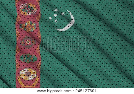 Turkmenistan Flag Printed On A Polyester Nylon Sportswear Mesh Fabric With Some Folds