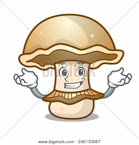 Grinning portobello mushroom character cartoon vector illustration poster