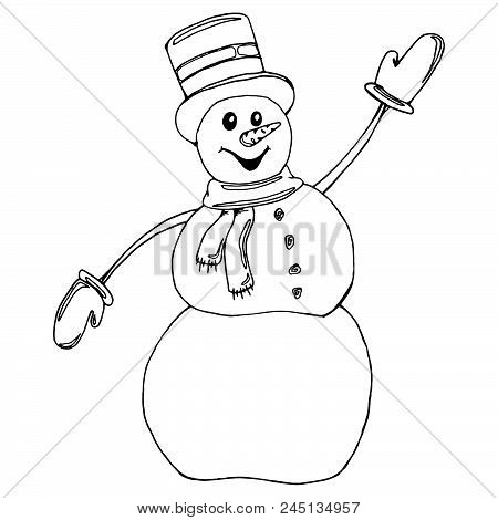 Funny Snowman. Vector Illustration Of A Snowman. Hand Drawn Cheerful Snowman. Doodle Snowman In The