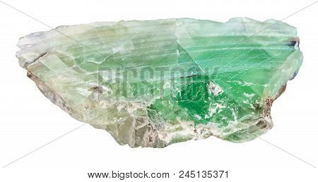 Macro Shooting Of Natural Mineral - Slab From Green Beryl Gemstone Isolated On White Backgroung From