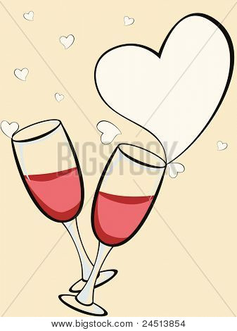 vector illustration with champagne glass