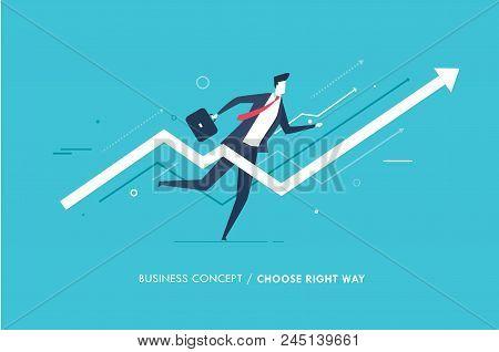 Businessman Runs Forward To Success. Growth Charts. Vector Illustration Eps10 File. Success, Rates