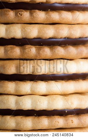 Close-up View Of Sandwich Biscuit With Chocolate