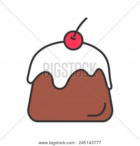 Pudding Color Icon. Panna Cotta. Isolated Vector Illustration
