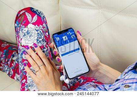 Sankt-petersburg, Russia, June 8, 2018: Facebook Application Icon On Apple Iphone X Smartphone Scree