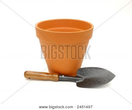 Plant Pot And Shovel