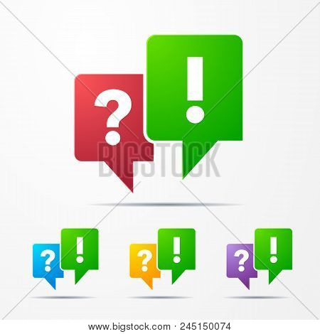 2 Speech Bubbles With Question Answer Mark Red/green