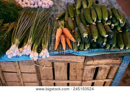 Fresh Organic Vegetables And Fruits On Sale At The Local Farmers Market Outdoors. Healthy Organic Fo