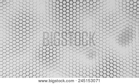 Bw Hexagrid Background With Soft Sea Waves