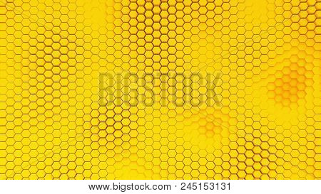 Beautiful Yellow Hexagrid Background With Waves. Honeycombs